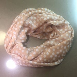 Pink and white polka dot H&M scarf